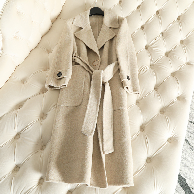 QIAN SI CHEN 19 Autumn New 100% Cashmere Coat Alpaca Warm Winter Coat Women Long Wool Coat Office Lady Slim Female Overcoat 28
