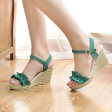 Leisure Women Buckle Strap Wedges Sandals Ruffles Peep Toe Shoes Heeled Sandals New Woman Sandals 2019 Summer Chaussures Femme