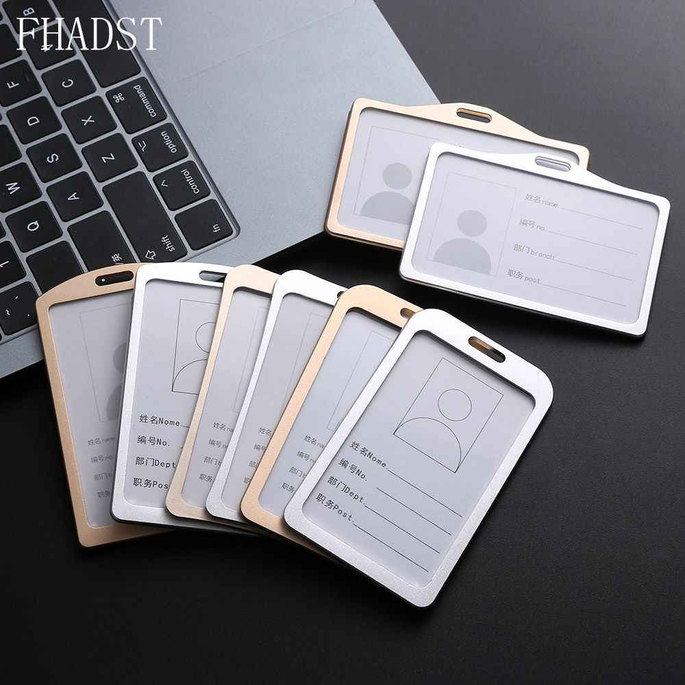 2019 New Aluminum Alloy Work Name Card Holders Business Work Card ID Badge Lanyard Holder Hot Vertical Metal ID Business Case