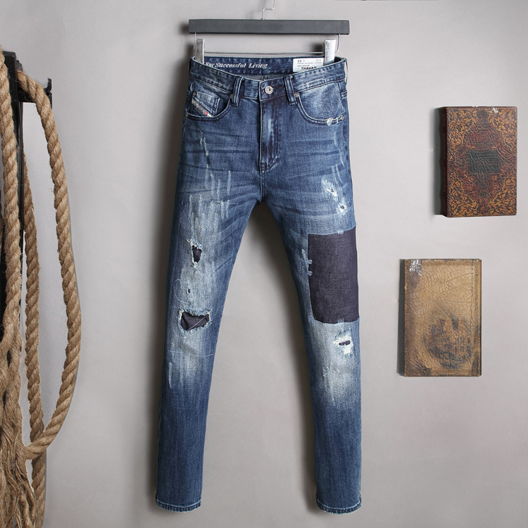+ jeans series crease wash water hole patches scratch do old stretch cultivate morality mens trousers