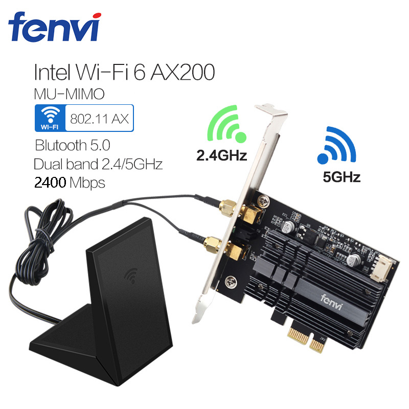 Desktop Dual Band 2400Mbps Wireless PCI-E Wifi Adapter Bluetooth 5.0 With Intel Wi-Fi 6 AX200 802.11ax/ac 2.4G/5G Card For PC