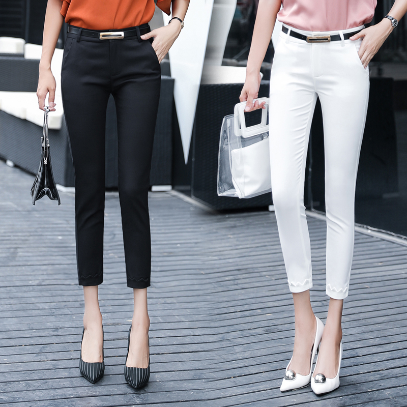 OL Elegant Pencil   Pant   Women Work   Pants   2019 Black Fashion Slim Elasticity Waist Casual Street Wear Leggings Thin   Pants  &  Capris