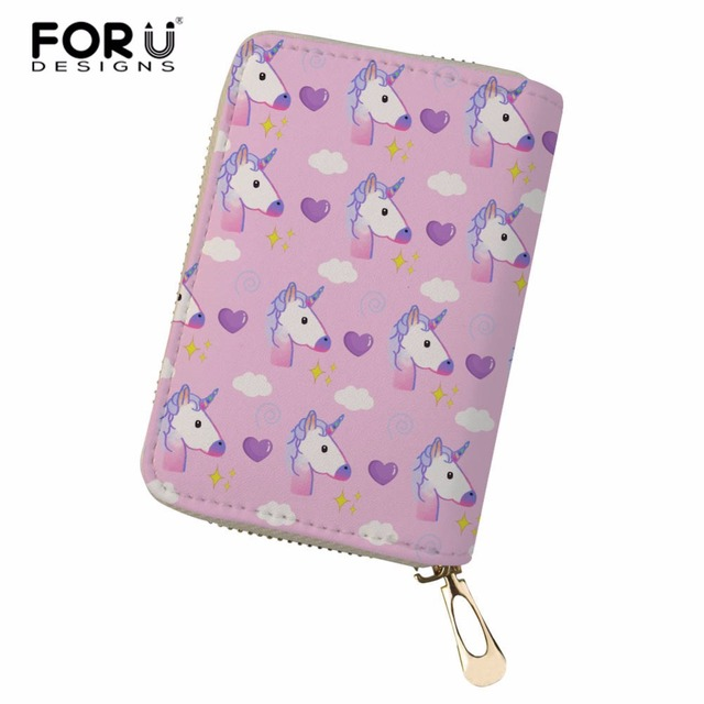 FORUDESIGNS Unicorn Printed Card Slots Women Men Credit Business Bank Cards Holder Passport Cover Card Bag Femme Carteira Mujer