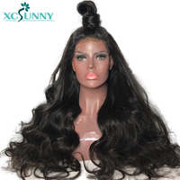 xcsunny Full 250 Density Lace Front Human Hair Wigs For Women Natural Black Pre Plucked Remy Brazilian Body Wave Frontal Wig