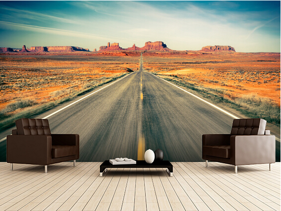 Custom Modern WallpaperMonument Valley Highway3D Natural Scenery Photo For Living Room Kitchen