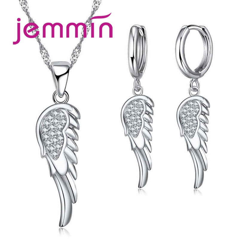 Minimalist 925 Sterling Silver Personality Temperament Crystal Wing Hot Fashion  Party Wedding Jewelry Set Wholesale