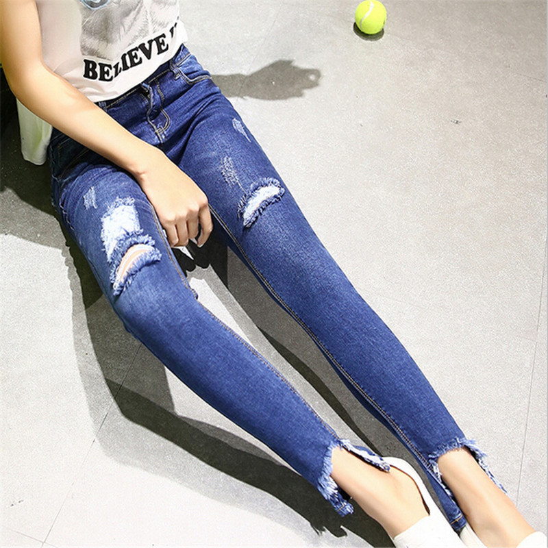 #882 2016 New Fashion Women Casual Skinny Jeans Boyfriends Denim Hole Ripped Jeans For Women Pants Plus Size 26-32 Free Shipping