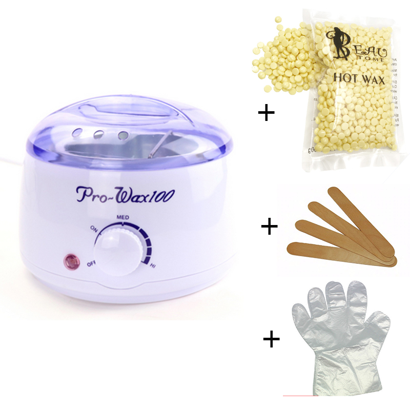 1 Set Depilatory Waxing Kit Including Wax Warmer Heater Machine Pot + 10 Wood Sticks + Gloves + 1 Bag Wax Beans For Hair Removal home economic hot film hard wax beans epilator depilatory set wax heater pot 3 bag wax beans 10 wood spatulas 10 gloves
