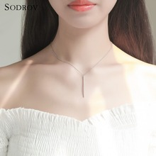 925 Silver Simple Stick Pendant Necklace For Women Long Link Chain White Gold Choker Fine Jewelry joyas de plata 925 N020