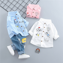 hot deal buy zwxlhh 2019 spring new baby boys girls clothing sets children infant  clothes suits cartoon  shirt + pants  kids toddler costume