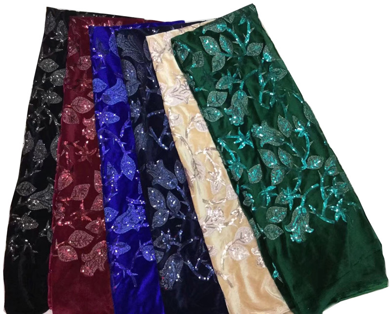 Free shipping (5yards/pc) high quality soft and smooth African velvet lace fabric with sequins embroidery for party dress FLZ037Free shipping (5yards/pc) high quality soft and smooth African velvet lace fabric with sequins embroidery for party dress FLZ037