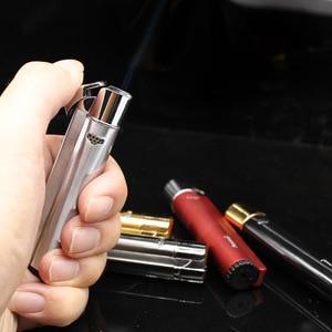 Image 2 - Gorąca taśma Jet butan zapalniczka do cygar latarka rura Turbo zapalniczka papieros 1300 C ogień wiatroodporny bez gazu