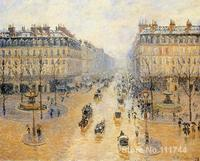 famous Camille Pissarro paintings Avenue de l Opera Snow Effect Canvas art reproduction High quality Hand painted