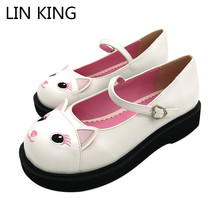 LIN KING Fashion Ankle Strap Women Pumps Sweet Cat Lolita Shoes Low Heel Platform Shoes Round Toe Cosplay Party Princess Shoes lin king fashion women pumps round toe thick square heel ankle strap platform shoes party bowtie sweet high heel shoes big size