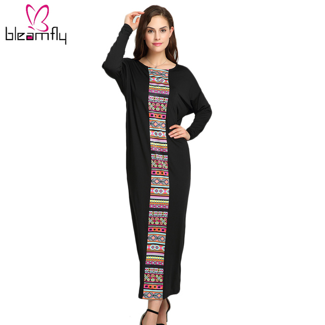 Autumn Winter Black Loose Long Robe Bat Sleeve Dashiki Dress Traditional  Middle-East Women African Clothing Tunic Indian Clothes 954491d47b4e
