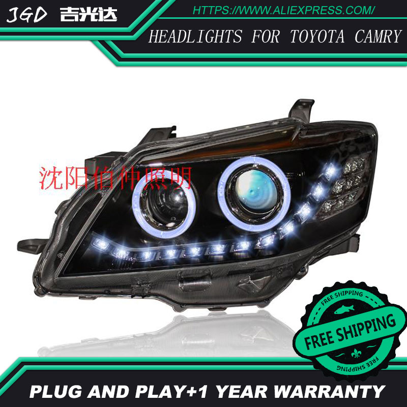 Car Styling Head Lamp case for Toyota Camry 2009-2011 LED Headlight for Camry LED Headlight DRL Hid Option Angel Eye Bi Xenon