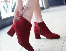 2018 new Women Boots High Heels Ankle Boots Fashion 2018 Autumn Chunky Heel Ladies Short Boots Shoes red Shoes Size 35-43(China)