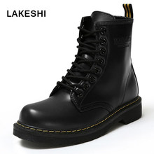 LAKESHI 2018 New Women Boots Lace Up Martin Boots Winter Fur Women Ankle Boots Brand Motorcycle boots Women Shoes plus size 42(China)