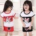 Novas Crianças Do Bebê Meninas Princesa Vestido de Festa Tarja Verão Dos Desenhos Animados Minnie Mouse crianças Vestido roupas 2-6A