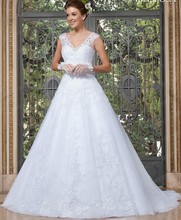 Free Shipping V Neckline Vestidos De Noiva 2015 Ball Gown Sweep Train Brazilian Puffy Wedding Dress With Appliques VP016