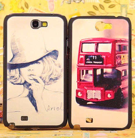 Fashion vintage bus lady for samsung n7100 . note2 n7102 phone case protective case shell