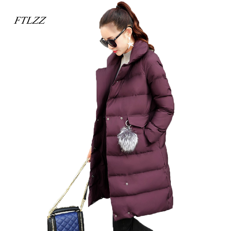 Ftlzz Winter Women Down Jacket 90% White Duck Down Warm Parkas Hair Ball Decoration Slim Black Long Snow Outwear Overcoats