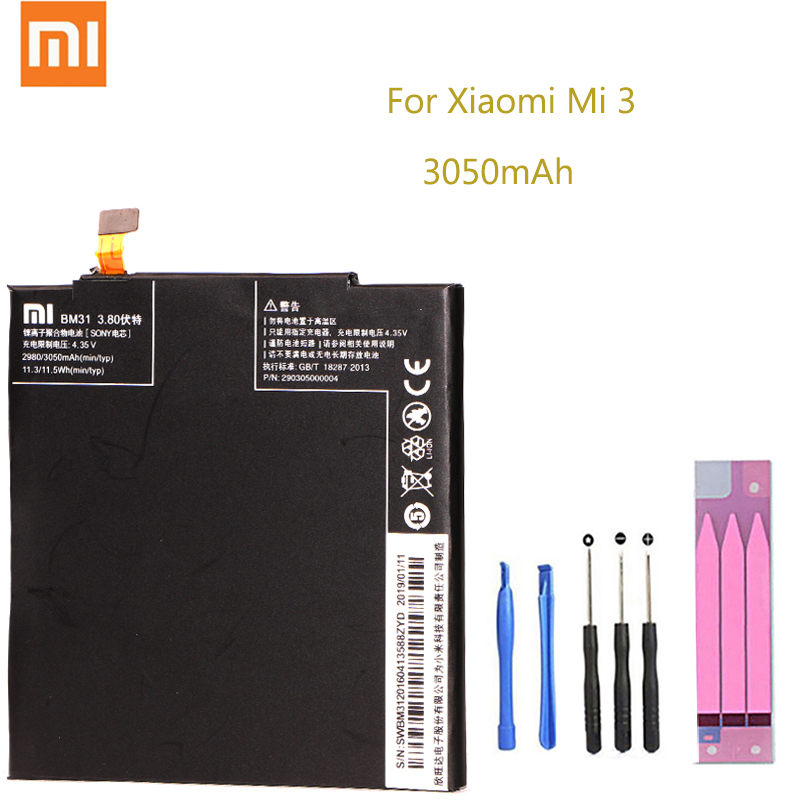 Original Replacement Battery For Xiaomi Mi 3 M3 Mi3 BM31 Genuine Phone Battery 3050mAh FOR BM31 Xiaomi Mi 3