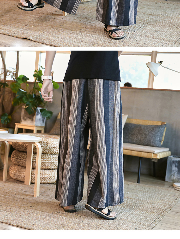 Sinicism Store Man Cotton Linen Wild Leg Pant Men Casual Stripe Straight Flare Trousers 2020 Male Traditional Pants Trousers 43