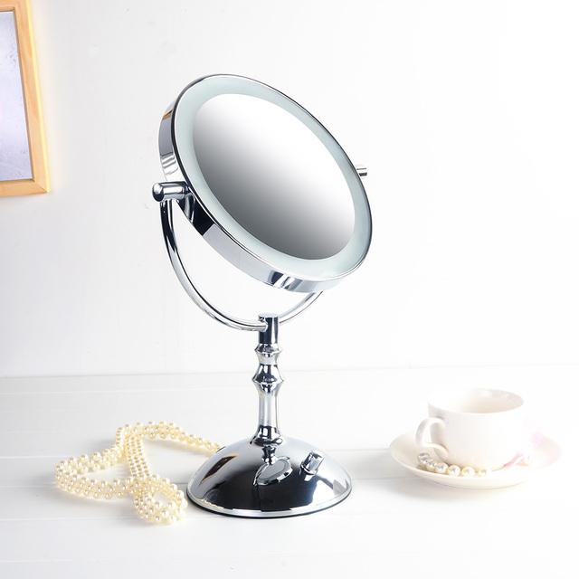 Caliente-venta de 8 pulgadas led espejo de maquillaje escritorio batería o usb/doble cara hd de metal espejo de la belleza de regalo vestirse 3X magnificar