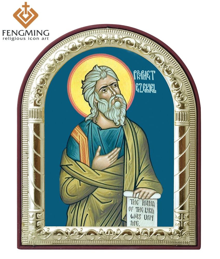 ⑧Rusia Ortodoxa católica imagen profeta Ezequiel metal plata oro ...