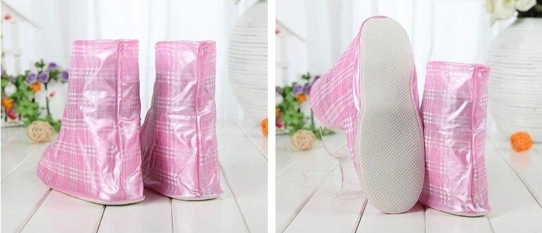 Nonskid pillowtop soles waterproof zipper rain shoe covers