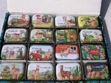 1pc new colorful mini cartoon alpaca sailboat print tin box sealed jar packing boxes jewelry candy small storage
