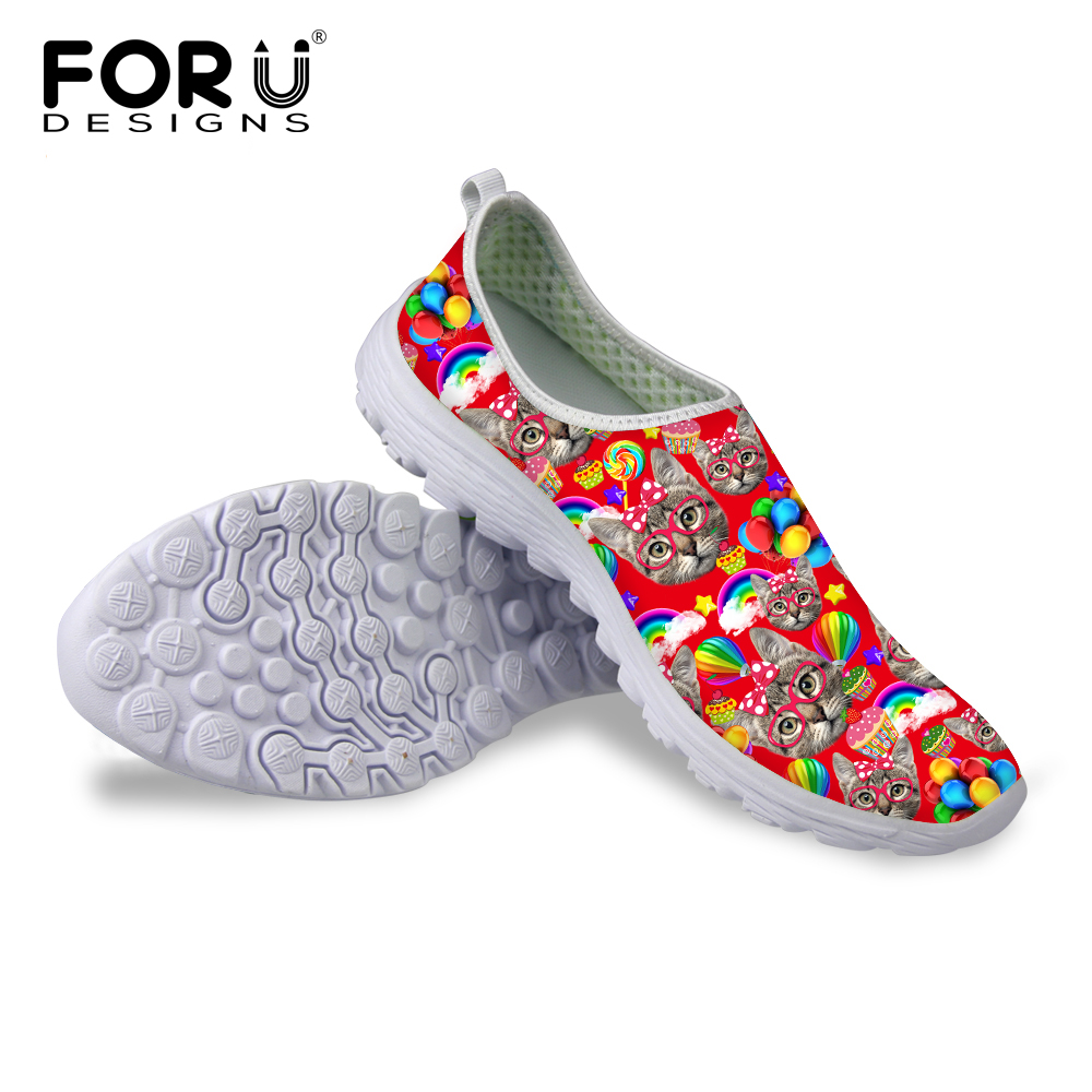 FORUDESIGNS Women Summer Casual Mesh Flat Shoes,Cute 3D Animal Red Cat Puzzle Printing Slip-On Pedal Lazy Shoes,Lady Soft Flats forudesigns cartoon shark print women flats shoes sneakers casual women s summer mesh shoes beach girls loafers slip on zapatos