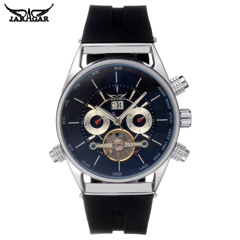 JARAGAR Automatic Self-Wind Mens Watches Luxury Mechanical Watch Tourbillion Design Shock Resistant Complete Calendar Watch цена и фото