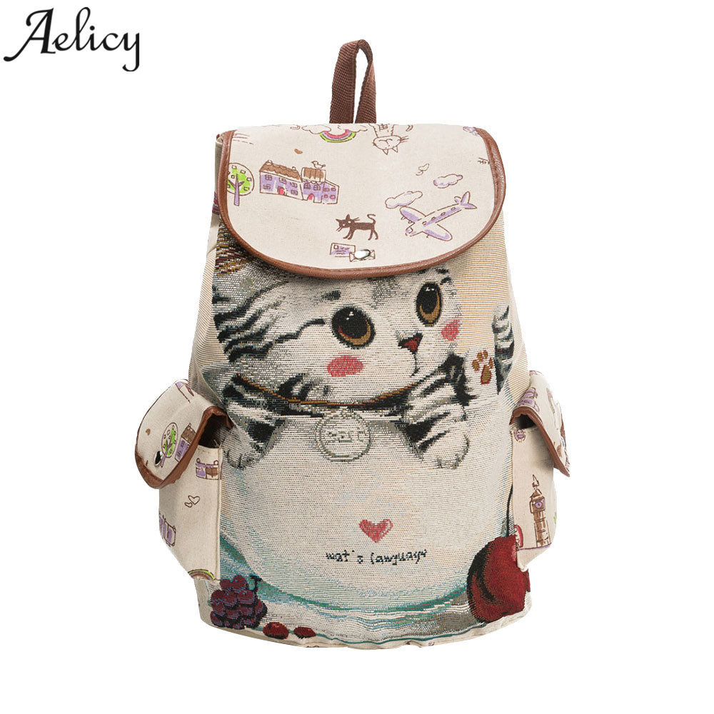 School Backpack Lovely Cat Printing Drawstring Backpack Large Capacity Canvas Backpack Schoolbag For Girls Rucksack