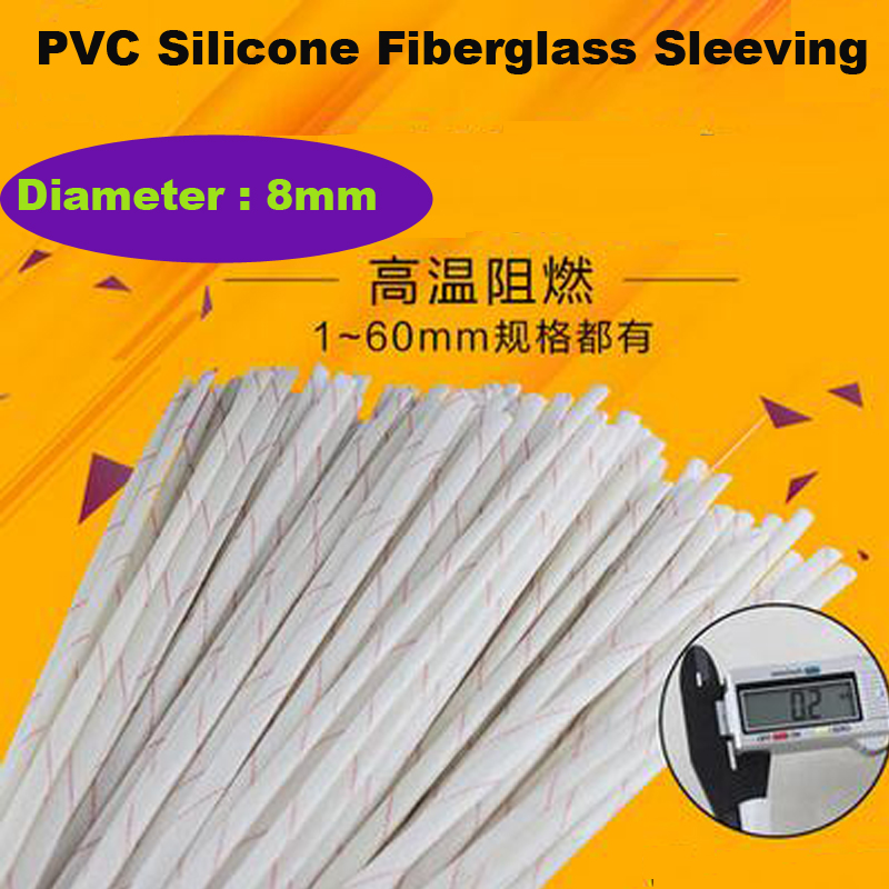 High Quality 10m/ Lot Fiber Glass High Temperature Cable Sleeve 8mm 2.5KV Thicken  Insulated PVC Silicone Fiberglass Sleeve|glass fiber sleeve|glass equalizer|glass rain - title=