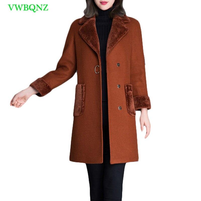 High Quality Woman Korean Wool Coat Winter Jacket Elegant Women Slim Long Woolen Coats Female Cardigan Jackets Coats Camel A730