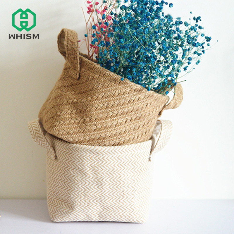 WHISM Folding Storage Basket Retro Sack Cotton Linen Bags Grocery Basket Mini Desktop Storage Bag Box Handle Jute Hanging Bags