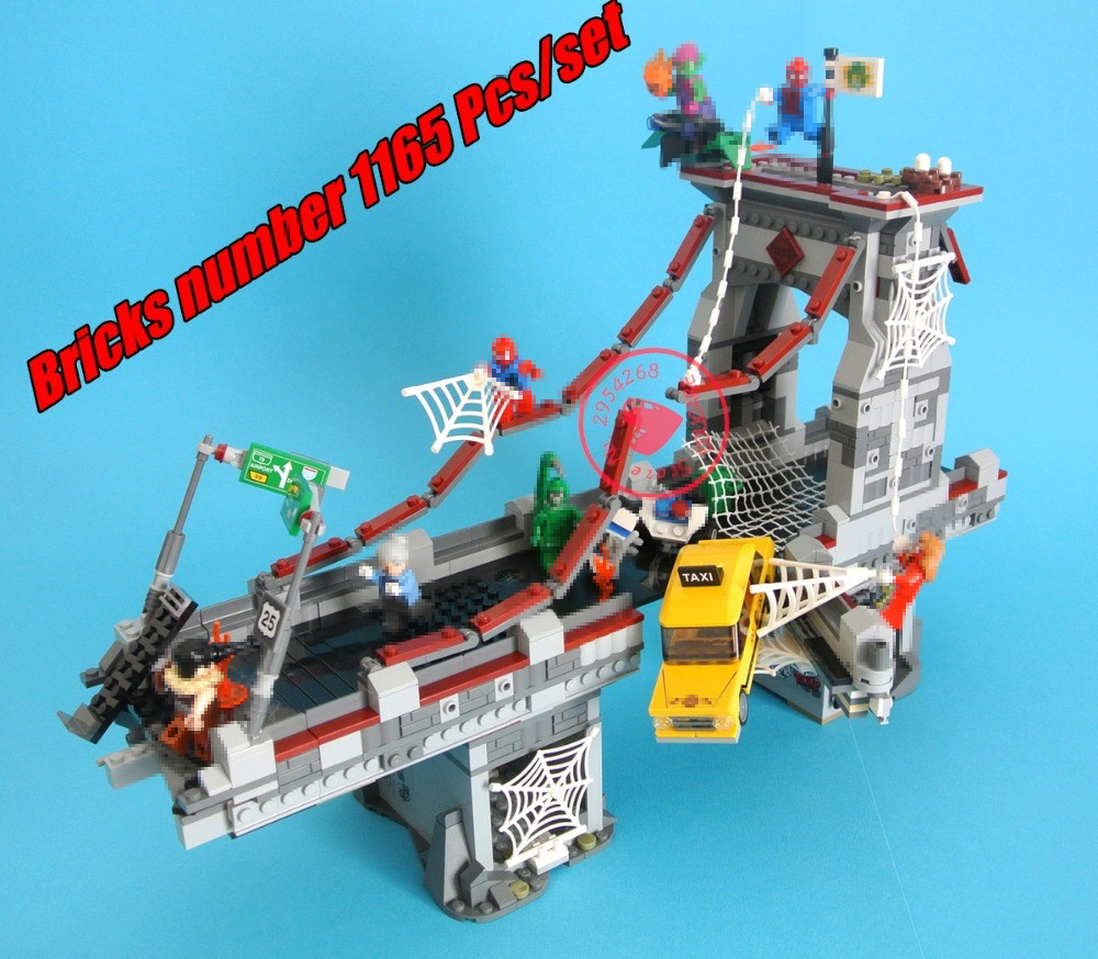 New Super heroes Spiderman Bridge Battle fit legoings avengers infinity wars marvel Building Block bricks 76057 gift kid set boy цена