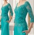 Онлайн Мода мать Невесты Кружевном Платье с Рукавом 2017 See Through Бисероплетение Бирюзовый Вечернее Платье Вечернее Элегантный