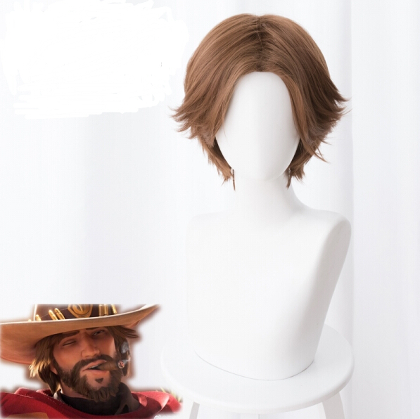 OW JESSE MCCREE Cosplay Wig Jesse Dark Brown Wig Role Play Costumes
