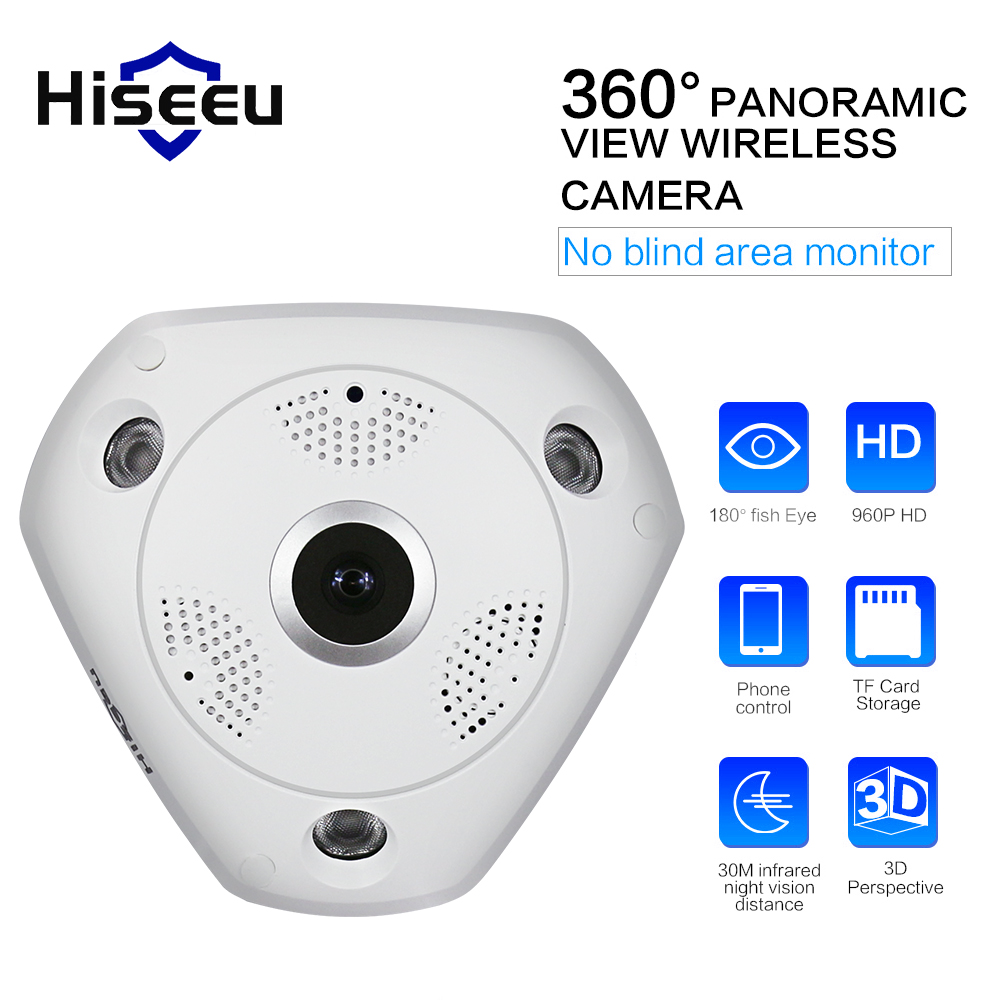 HD WiFi Panoramic Camera 360 Degree e-PTZ Fisheye Network IP CCTV Camera SD Card Storage Remote IR-CUT Onvif Audio-in P2 Hiseeu cheapest home smart ptz wireless ip camera ip camera wifi hd ir sd card 720p onvif p2p for android ios pc remote monitoring