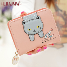 LDAJMW Ladies Leather Wallets Coins Photo Womens And Purses Cartoon Cat Printed Girl Small Wallet Female Card Holder