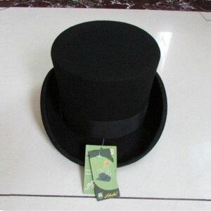 Image 4 - בריטי סגנון גברים נשים צמר פדורה Steampunk מגבעת צילינדר קוסם קסם כובע טוב חבילה צמר מגבעות לבד כובע 12cm גבוהה B 8114