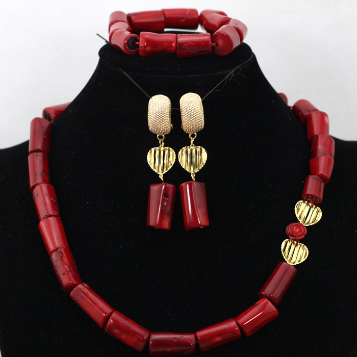 Luxury Wine Red Wedding Beads African Jewelry Set Natural Coral Beads Bridal Gift Jewelry Set Engagement Jewelry Free Ship QW695 free ship gou matsuoka long wine red women style anime cosplay wig one ponytail 370f