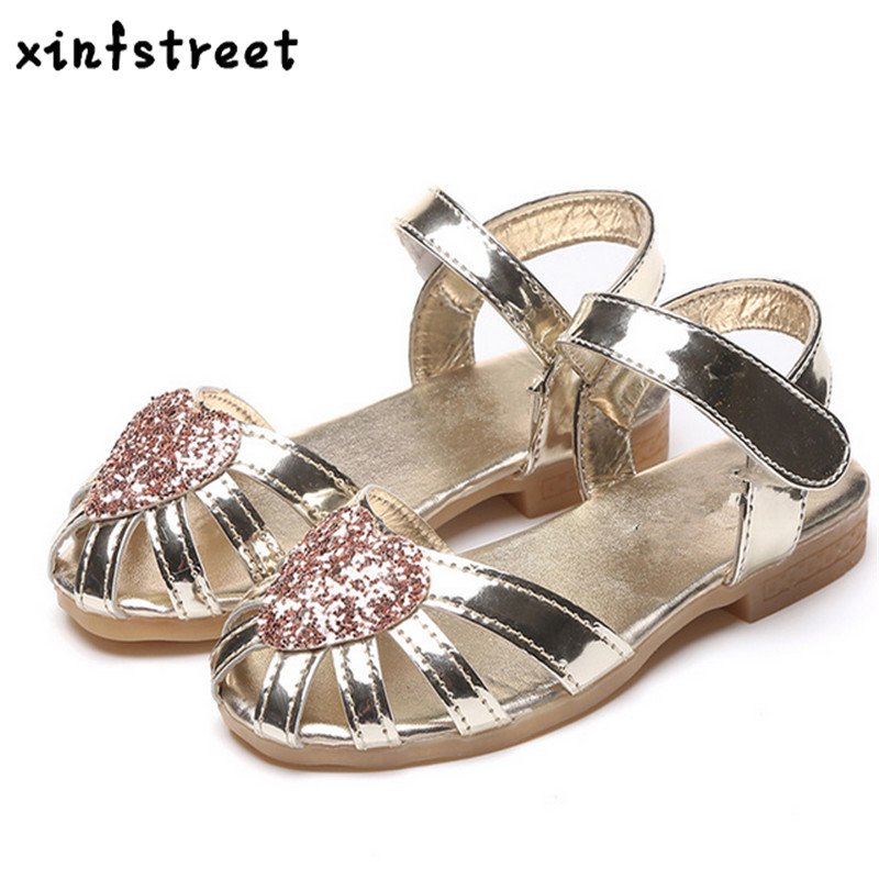 Xinfstreet Girls Sandals 2018 Summer Kids Shoes For Girls Rhinestone Beach Sandals Children Princess Shoes Girls Siize 26-36