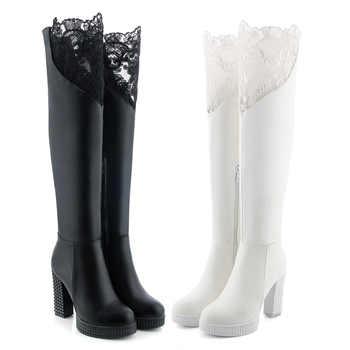 J&K Big Size 34-43 New Arrive Sexy Lace Over the Knee Boots Women High Heels Platform Winter Boots Zipper Footwear Shoes Woman