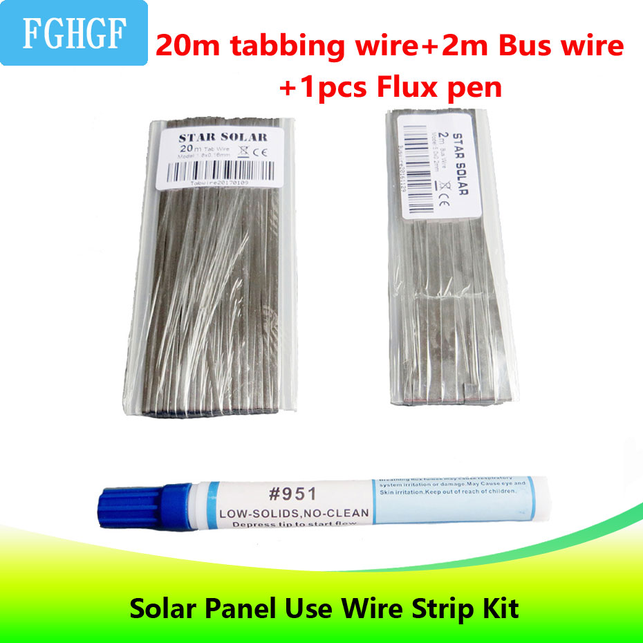 DIY Solar Cell Wire Strip Kit 20M Tabbing wire+ 2M Bus wire PV Ribbon +1pc 951 10ml Soldering Rosin Flux Pen