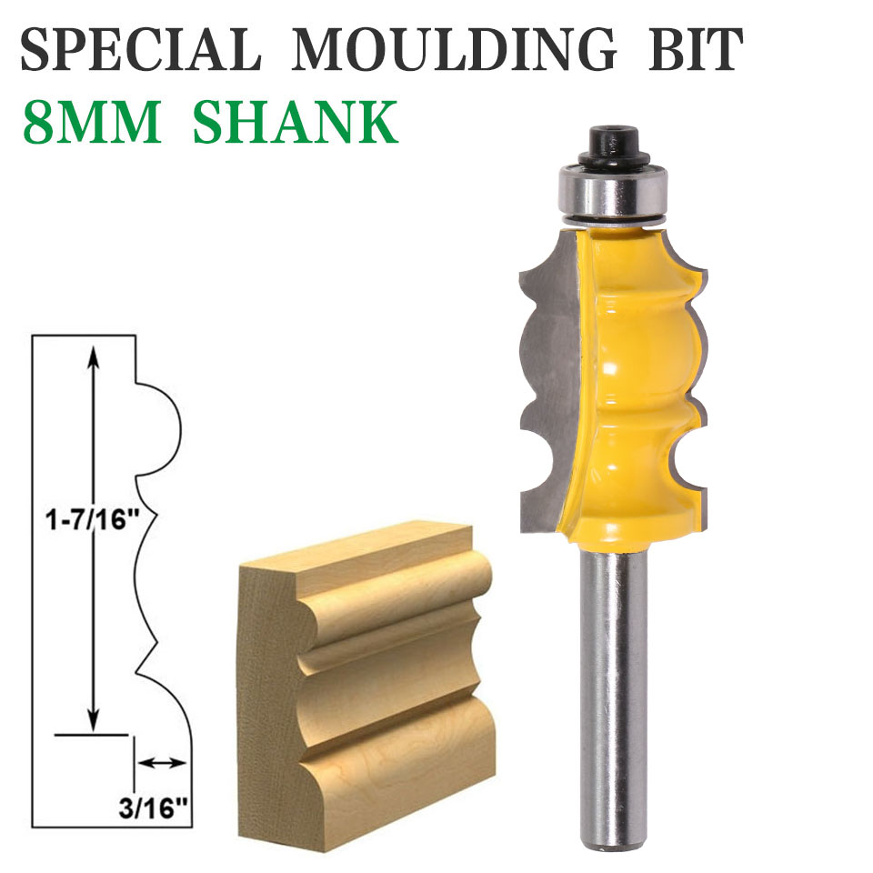 1PC 8mm Shank Special Moulding Bit Carbide Molding Router Bit Trimming Wood Milling Cutter For Woodwork Cutter Power Tools
