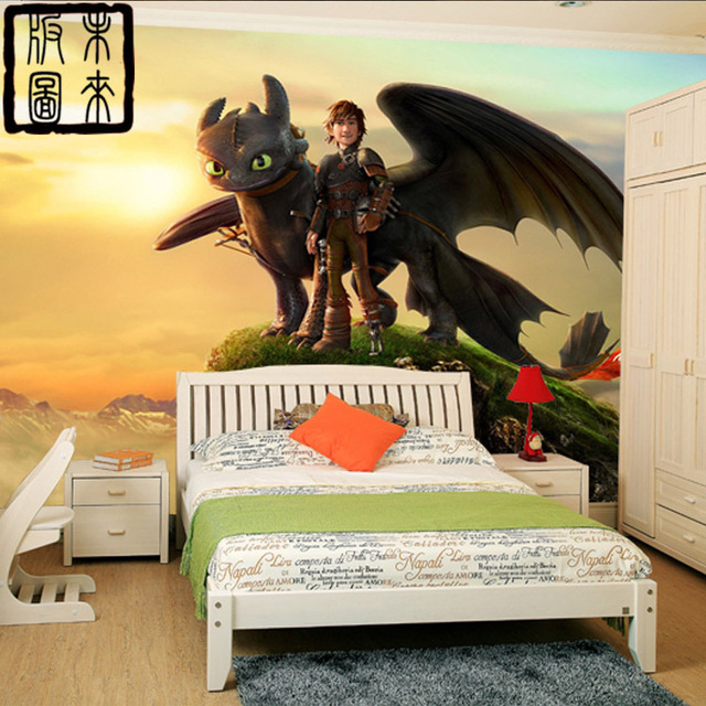 wie drachenz hmen fototapete 3d cartoon tapete wandbild. Black Bedroom Furniture Sets. Home Design Ideas